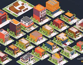 3D asset Low Poly City Buildings Pack