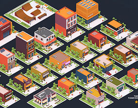 3D asset Low Poly City Buildings Pack