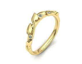 floral Leaves Engagement Band ring 3D print model
