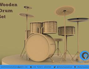 Wooden Drum Set 3D print model