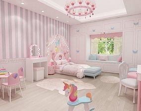 girls bedroom 3D model horse