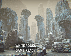 White rocks 3D asset game-ready