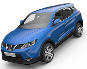 animated Nissan Qashqai SUV Low-poly 3D model