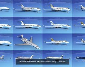 21 Bombardier Global Express Private Jets 3D model