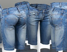 3D model Tight Jeans Shorts Trousers
