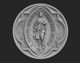 Virgin Mary Immaculate Medallion 3D printable model