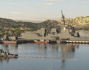 JMSDF DDG-180 HAGURO guided-missile destroyer 3D model