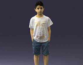 Boy in a t-shirt and shorts 0250 3D Print