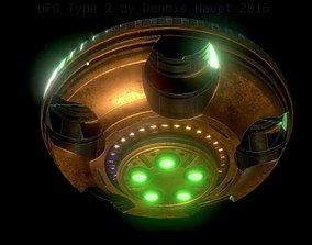 3D asset UFO Type 2 Animated and Game Ready