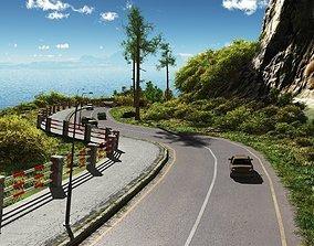 Coastal road in Vue 3D model