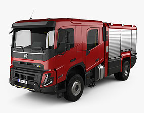 3D Volvo FMX Crew Cab Fire Truck 2020