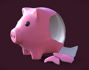 Piggy Bank - whole and broken 3D model game-ready