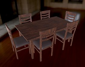3D asset VR / AR ready Chair and table