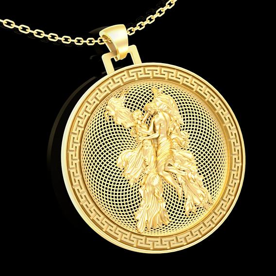 Romantic dance in the wind Pendant jewelry Gold 3D print model