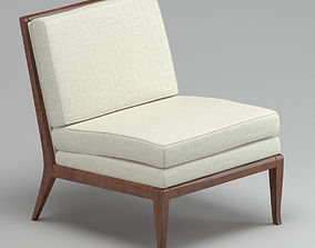 3D White And Brown Lounge Chair