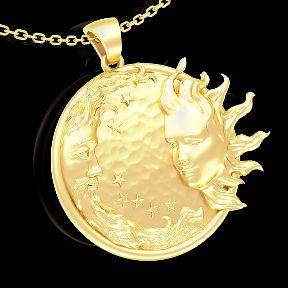 Sun and Moon Pendant jewelry Gold 3D print model