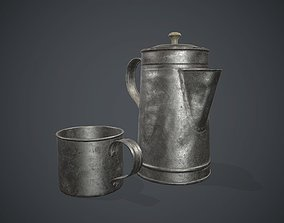 Old Metal Coffee Carafe With Cup PBR Game Ready 3D model