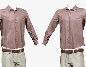 3D asset 001284 mans pink top and white pants