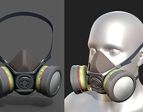 Gas mask helmet 3d safety isolated fantasy human low-poly
