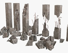 3D model Broken Concrete Pillars Pack