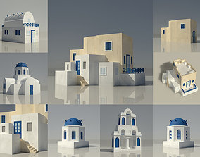 game-ready Santorini Blue and White Greek 3D Buildings x 7
