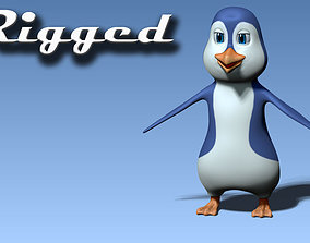 3D model rigged realtime Cartoon penguin