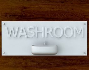 3d Printable Washroom sign STL OBJ