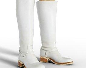 Boot Tall White Leather Women Footwear 3D asset boot