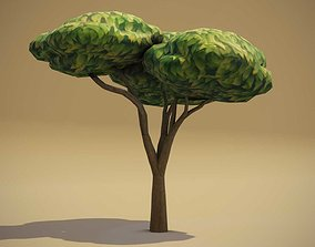 VR / AR ready Cartoon Acacia Tree 3D Model