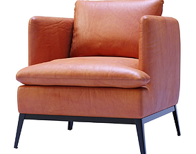 Lewis Classic Leather Chair-Cognac 3D