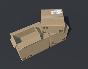 PBR Cardboard Boxes Animated And Destructible 3D model
