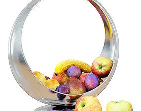 3D model Fruit in a beautiful metal vase