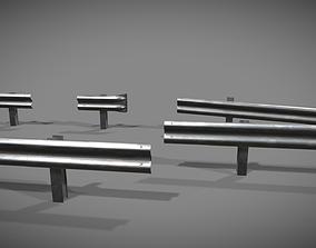 Crashbarrier low poly modular 3D asset