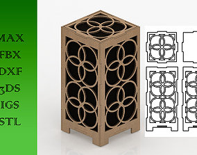 Wooden Lamp Laser Cut desk lamp lampshade 11 3D asset
