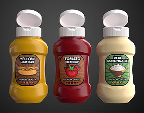 3D asset Cartoon Sauce Bottles