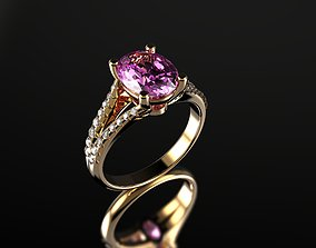 Oval Pink Sapphire and Diamond Ring 3D printable model 3