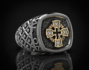 3D printable model Ring with a cross and patterns on it