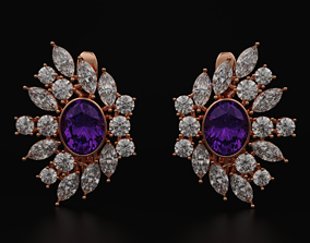 3D print model Earrings with marquise and diamonds 593