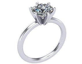 single stone engagement ring 3D printable model