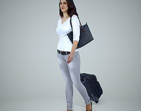 Casual Traveling Woman with Black Suitcase 3D