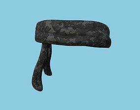 3D asset Black Multicam Camouflage Bandana - Military 1