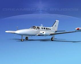 3D Cessna 414 Chancellor Bare Metal