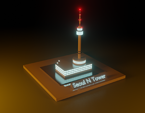 low poly Seoul N Tower 3D model