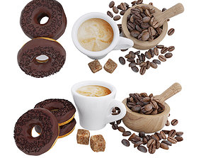 Coffee and donuts 3D model coffee