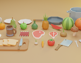 3D model Low Poly Food Vol 1 - Fruits and Vegetables