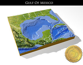 High resolution 3D relief map of Gulf of Mexico