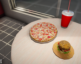 Fast Food Cafe - building with interior 3D model