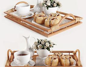 3D Breakfast on the tray w003
