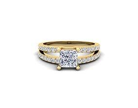 diamond Princess Engagement Ring 3d Model