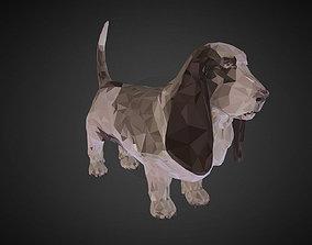Dog Basset Hound Low Polygon Art Farm low-poly